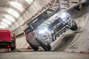 Range Rover Evoque Convertible revealed testing at Europe's largest construction project